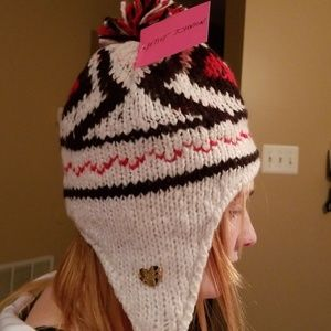 Betsey Johnson hat with strings on bottom